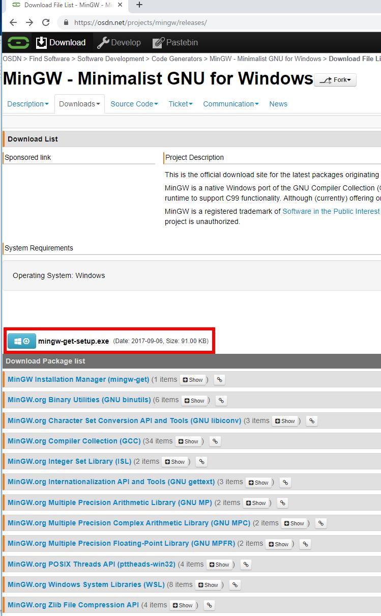 MinGW と msys のインストール(Windows 上)