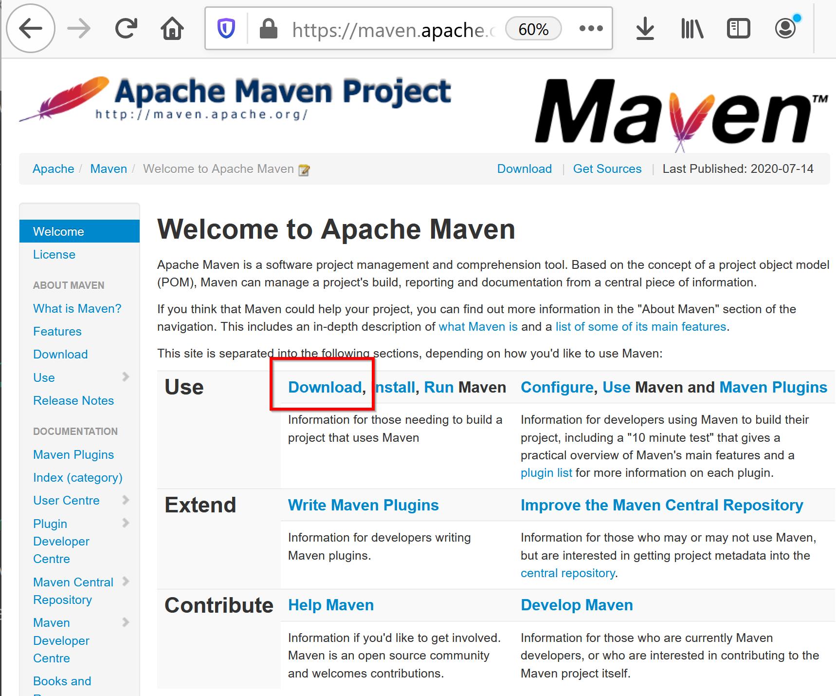 Apache Maven のインストール(Windows 上)